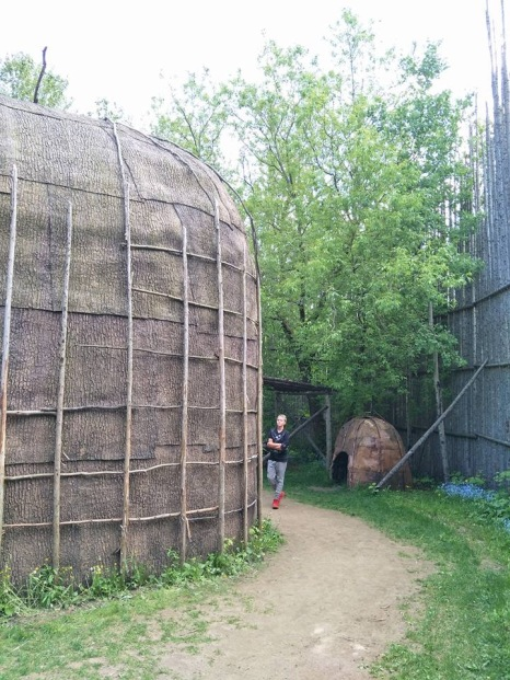 Wendake. Reconstructed Iroquoian village and longhouse.